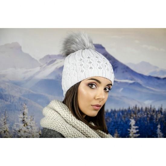 Зимна дамска шапка еко пух и полар сива