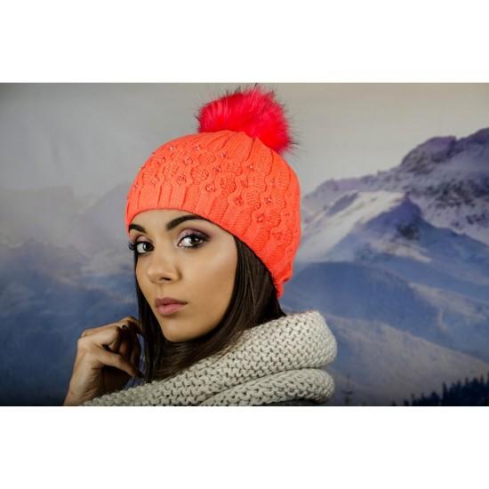 Зимна дамска шапка еко пух и полар неоновооранжева