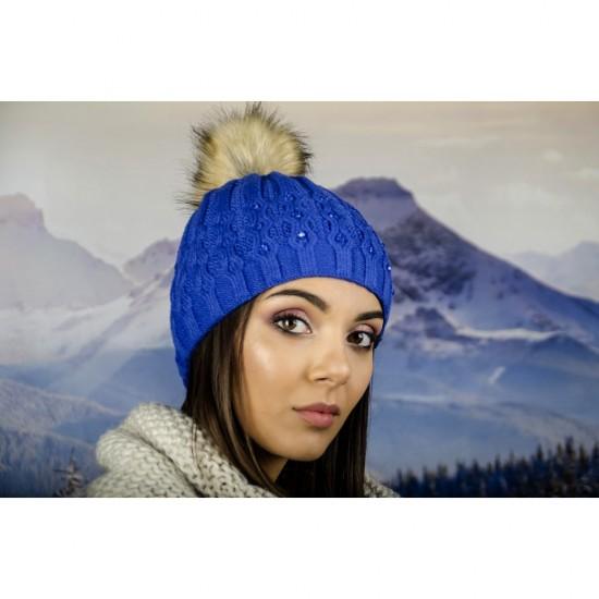 Зимна дамска шапка еко пух и полар синя
