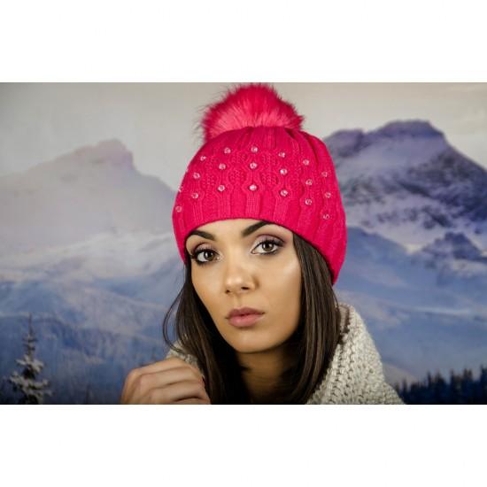 Зимна дамска шапка еко пух и полар циклама
