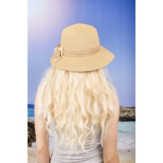 Дамска лятна тъмнобежова шапка с панделка