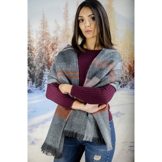 Дамски зимен вълнен шал в сиво, оранжево и розово