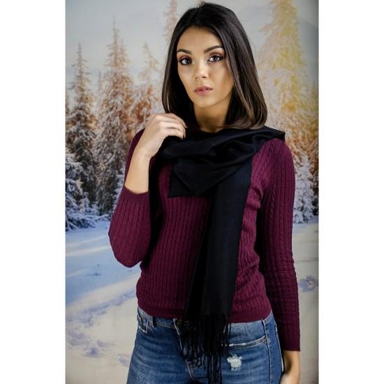 Черен дамски шал едноцветен