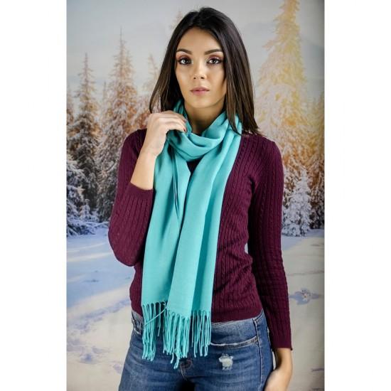 Светлосин дамски шал едноцветен