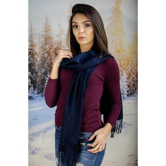 Тъмносин дамски шал едноцветен