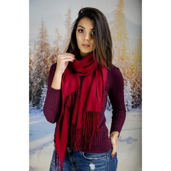 Червен дамски шал едноцветен