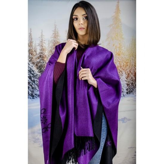 Дамски двулицев шал тип пончо лилав
