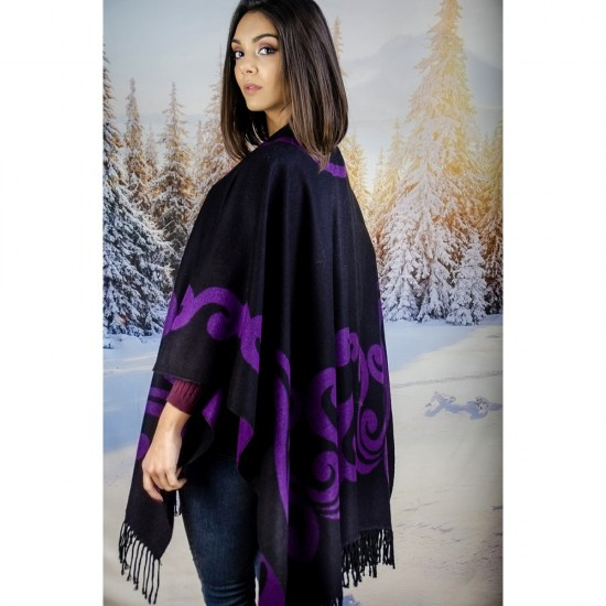 Дамски двулицев зимен шал тип пончо ярколилав