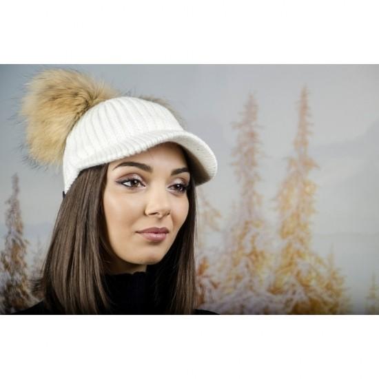 Плетена дамска шапка с козирка и два помпона в бяло