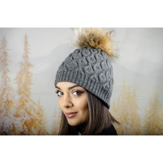 Зимна дамска шапка ангора в тъмносиво