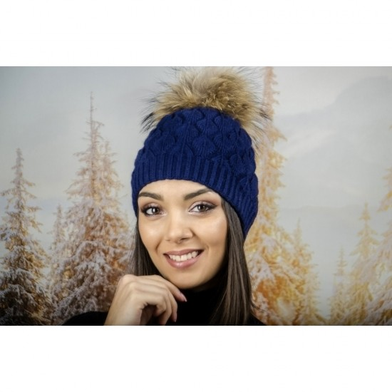 Зимна дамска шапка ангора в синьо