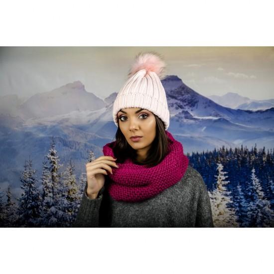Дамски цикламен зимен шал тип яка