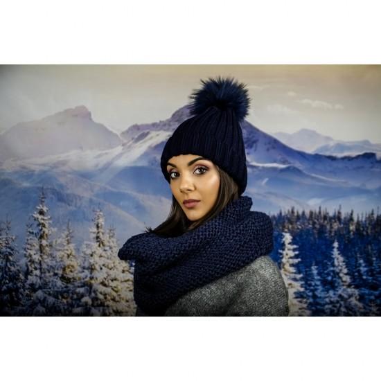 Дамски тъмносин зимен шал тип яка