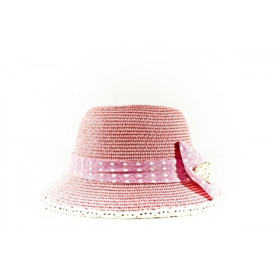 Розова дамска лятна капела с розова панделка