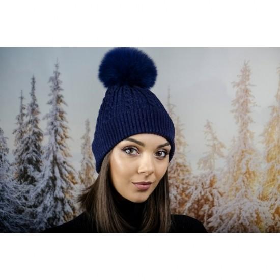 Зимна дамска шапка ангора с пух в тъмносиньо