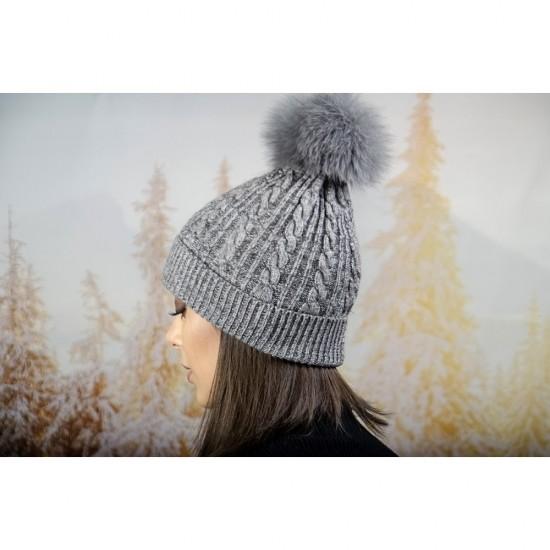 Зимна дамска шапка ангора с пух в сиво