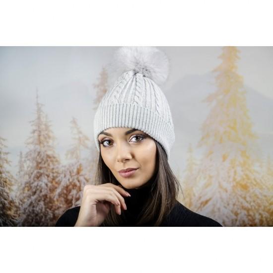 Зимна дамска шапка ангора с пух в светлосиво