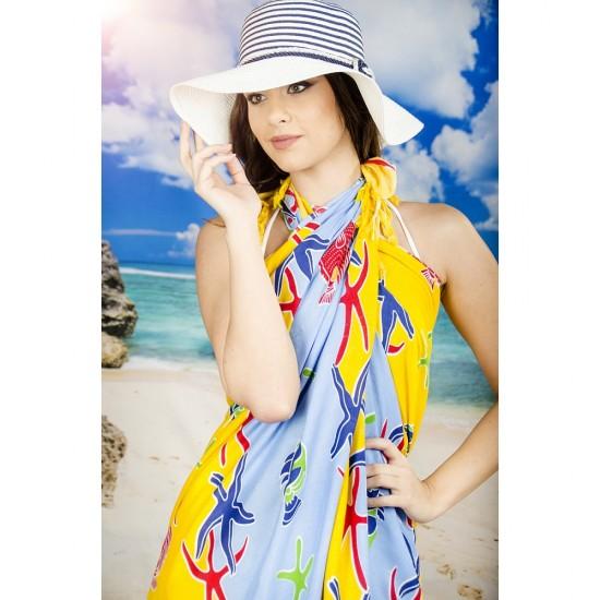 Плажен шал в жълто и светлосиньо с морски мотиви