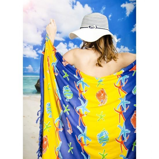 Плажен шал в жълто и тъмносиньо с морски мотиви