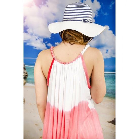 Плажна рокля в бяло и бледочервено