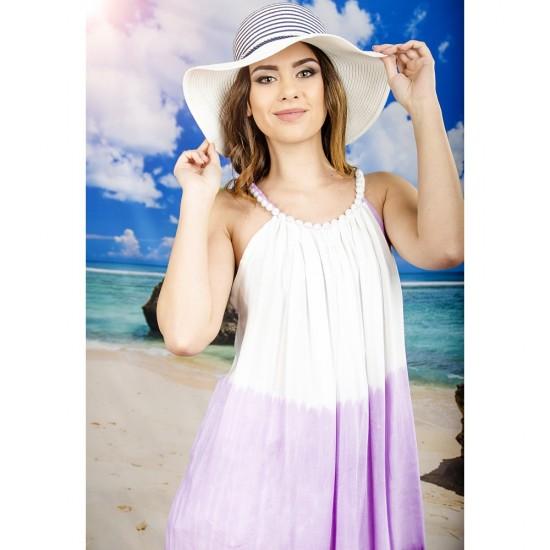 Плажна рокля в бяло и лилаво