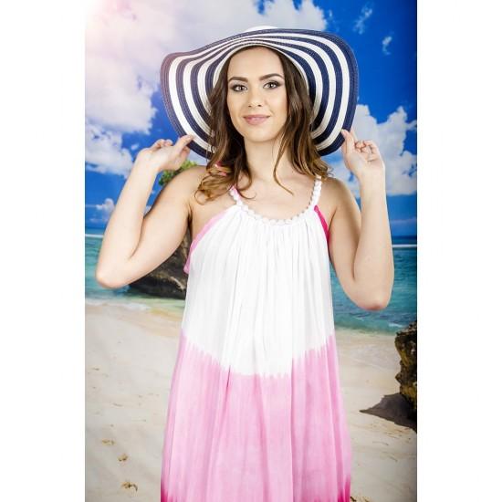 Плажна рокля в бяло и розово