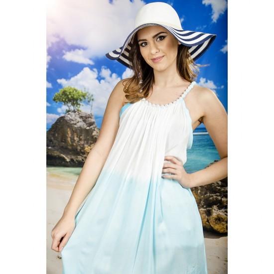 Плажна рокля в бяло и бледосиньо