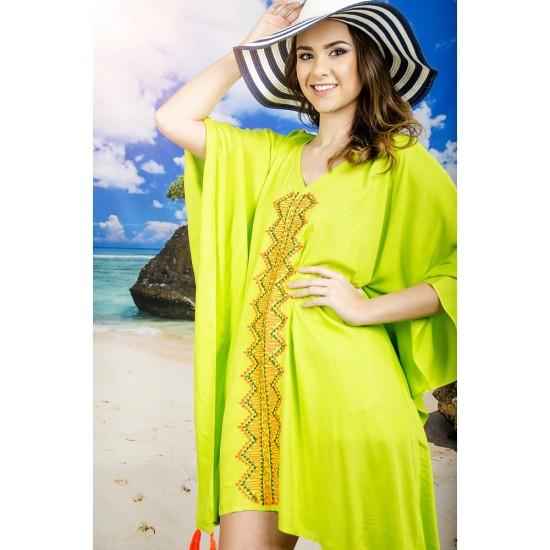 Плажна туника в жълто-зелено с пискюли