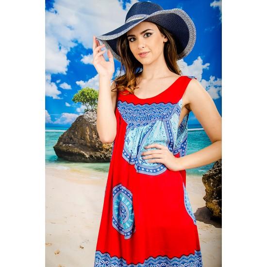 Плажна рокля в червено и синьо