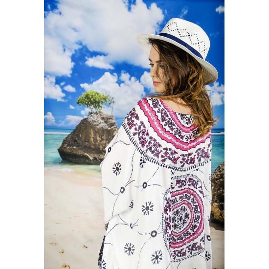 Плажна туника в бели и розови орнаменти