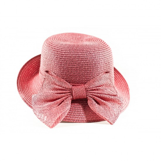 Розова дамска капела с красива панделка