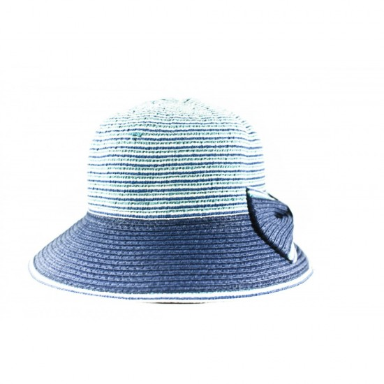 Дамска лятна шапка в син цвят с панделка