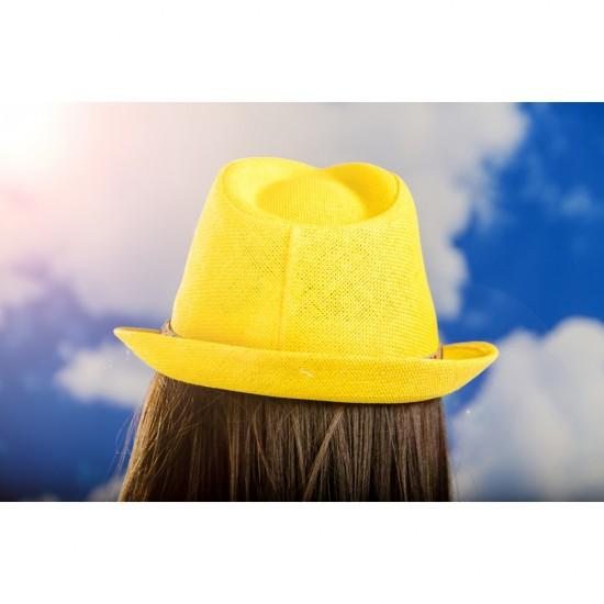Дамско бомбе в жълто с шарена лента