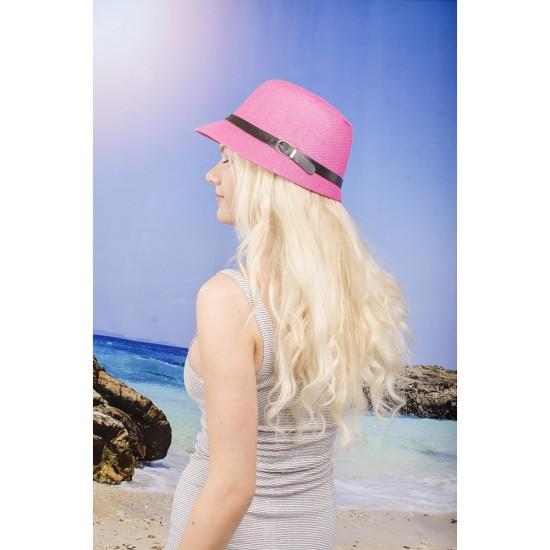 Тъмнорозова дамска лятна шапка с малка периферия