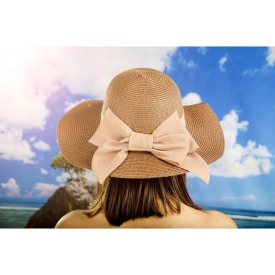 Дамска лятна шапка с панделка в тъмнокафяво
