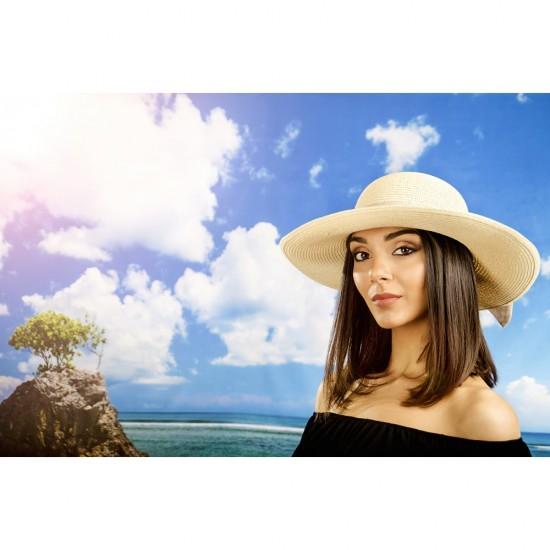 Дамска лятна шапка с панделка в екрю