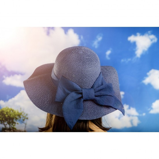Дамска лятна шапка с панделка в синьо