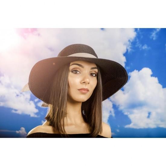 Дамска лятна шапка с панделка в черно