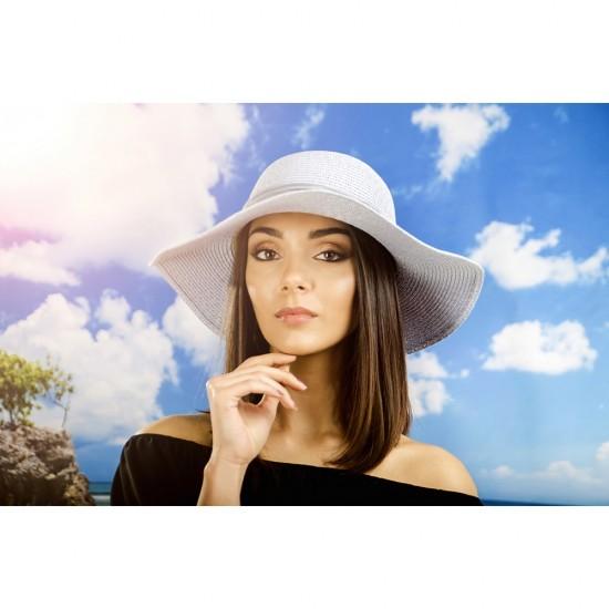 Дамска лятна шапка с панделка в светлосиньо