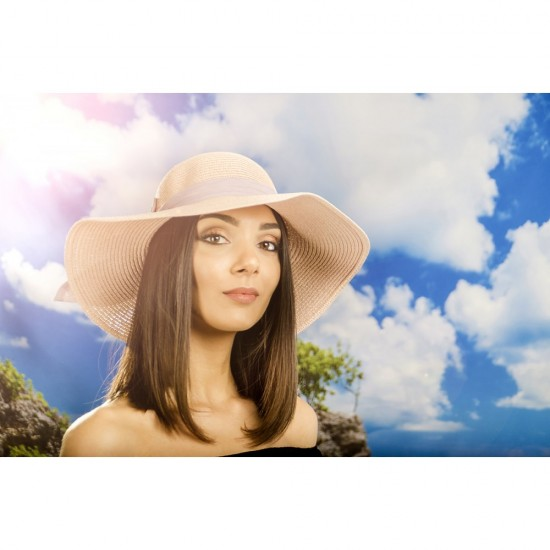Дамска лятна шапка с панделка в цвят светла праскова