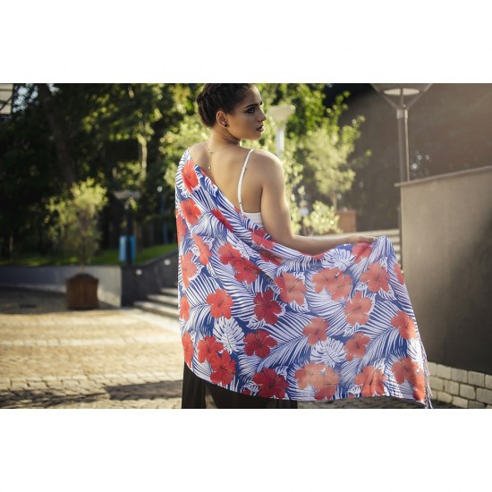 Дамски летен шал с тропически цветя в червено