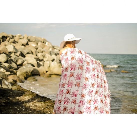 Плажен шал с костенурки в бяло и червено
