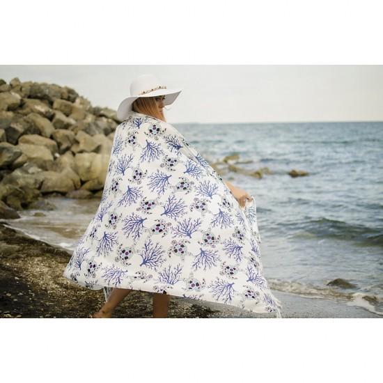 Плажен шал с костенурки в бяло и синьо