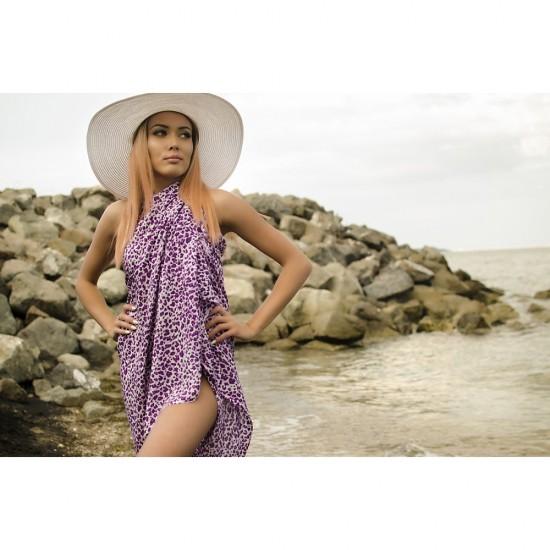 Плажен шал в лилав леопардов принт