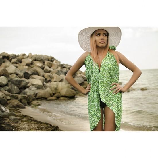 Плажен шал в зелен леопардов принт