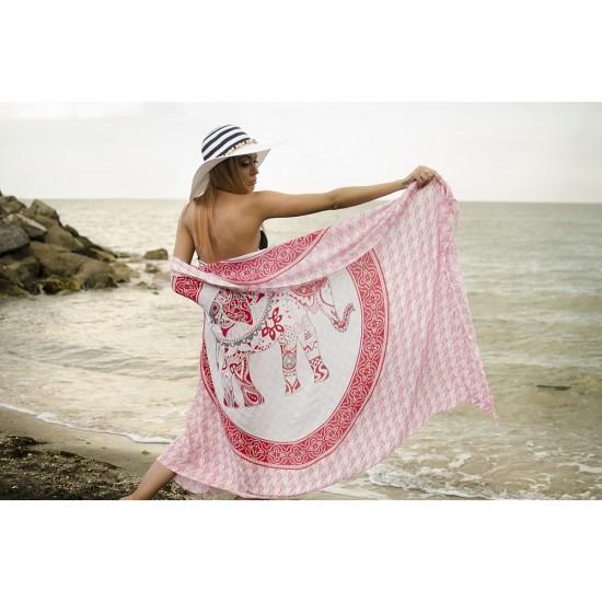 Плажен шал в бяло и червено със слонче