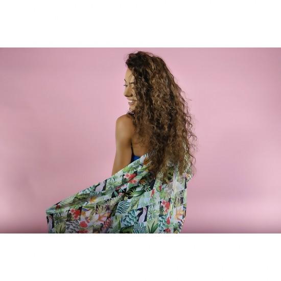 Дамски летен шал с тропически дизайн