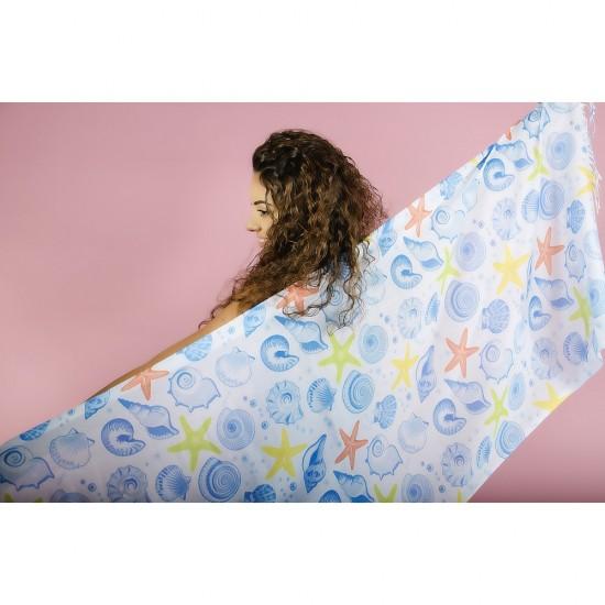 Дамски летен шал с мидички и морски звезди