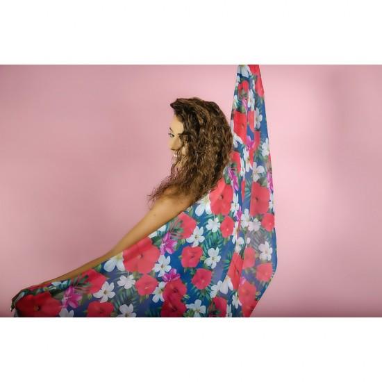 Дамски летен шал на цветя
