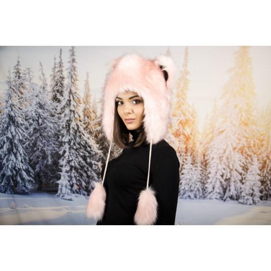 Розова зимна шапка анимал с тъмни косъмчета